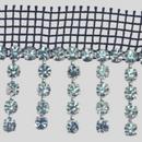 Fancy Crystal/Silver Metal Banding with Tassels (4+1) on Black net