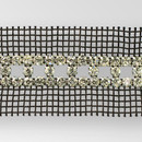 Fancy Metal Banding, 3-row, cut out, Crystal, Silver plated, Black net on both sides