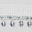 Fancy metal banding, crystal MC chatons + crystal fire polished beads, silver plating with white net