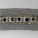 Fancy Metal Set Crystal Banding + centered Hematite FP Beads on Black Netting, Silver Plating