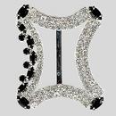 Fancy Rhinestone 2 Row Buckle Crystal Jet Silver, 35x42mm Outside Dimensions, 28mm Inside Dimension