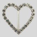 Heart Shaped Rhinestone Buckle Crystal Silver, 43x38mm Outside Dimensions, 25mm Inside Dimension