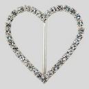 Heart Shaped Rhinestone Buckle Crystal Silver, 57x50mm Outside Dimensions, 37mm Inside Dimension