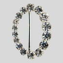 Oval Graduated Rhinestone Buckle Crystal Silver, 35x49mm Outside Dimensions, 33mm Inside Dimension, ss25,29,34,40