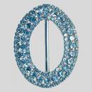 Oval Rhinestone 3 Row Buckle Crystal Silver, 70x88mm Outside Dimensions, 57mm Inside Dimension
