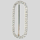 Oval Rhinestone Buckle Crystal Silver, 27x71mm Outside Dimensions, 62mm Inside Dimension, ss18