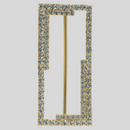 Rectangle 2 Row Rhinestone Buckle Crystal Gold, 38x80 mm Outside Dimension, 68mm Inside Dimension, ss18