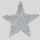Rhinestone Star patch, Machine cut Crystal stones, Silver plating + White net
