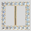 Square Rhinestone Buckle Crystal Gold, 43mm Outside Dimension, 30mm Inside Dimenson
