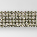 5-row Machine Cut Metal Banding, Crystal, Silver, White net, without netting on sides