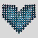 Rhinestone Ornament, Aqua and Blue Zircon MC Chatons, Silver Plating