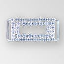 2 inch Rectangle Crystal Silver Rhinestone Connector, ss12, ss18