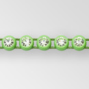 1-row ss8 Crystal AB, Acid Green Setting, Machine Cut Rhinestone Plastic Banding