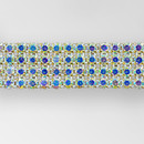 4-row Machine Cut Metal Banding Crystal AB, Gold Plated on White Netting without netting on Sides