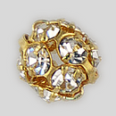 6mm Rhinestone Ball Crystal Gold Plated