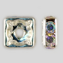 8x8mm Rhinestone Squaredelle Crystal AB Silver Plated