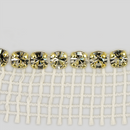 1-row ss19, 4.5mm Machine Cut Metal Set Banding Crystal col., Gold Plated, White Netting on one side