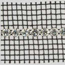 1-row ss19, 4.5mm Machine Cut Metal Set Banding Crystal, Silver Plated, Black Netting on both Sides
