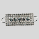 1.25 x 0.5 inch Fancy Rhinestone Connector, Crystal/Silver, ss6.5, ss18
