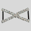 1.50 Inches x 1 Inch Crystal Silver Rhinestone Connector, ss14.5, ss25
