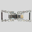 1.75 Inches x 0.75 Inch Crystal Silver Rhinestone Connector, ss12, Baguette 10x5 and 8x4