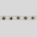 1-row ss15 Crystal, Alabaster Setting, Machine Cut Stretch Rhinestone Plastic Banding