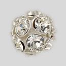 10mm Rhinestone Ball  Crystal, Silver Plated