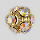 10mm Rhinestone Ball Crystal AB, Gold Plated