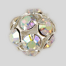10mm Rhinestone Ball Crystal AB, Silver Plated
