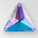 21mm Acrylic Triangle Sew-On Stone, Crystal AB color