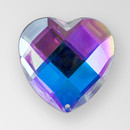 20mm Acrylic Heart Sew-On Stone, Crystal AB color