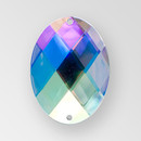 30x21mm Acrylic Oval Sew-On Stone, Crystal AB color