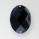 40x30mm Acrylic Oval Sew-On Stone, Jet color