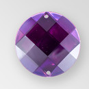 30mm Acrylic Round Sew-On Stone, Amethyst color