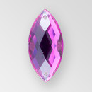 26x12mm Acrylic Navette Sew-On Stone, Amethyst color