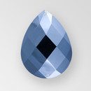 40x30mm Acrylic Pearshape Sew-On Stone, Hematite color
