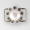 1 inch Round Crystal, Cream Pearl, Gold Connector, ss16