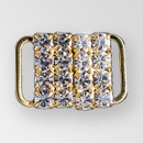 0.5 inch Square Rhinestone Closure with eye and hook, Crystal, Gold, ss12