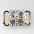 0.5x0.5 inch Square-Shaped Crystal, Gold Connector, 2x2 ss29