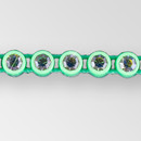 1-row ss13, Vitrail Medium, Acig Green Setting, Machine Cut Rhinestone  Plastic Banding