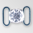 0.4 inch round single stone Crystal Silver connector, ss38