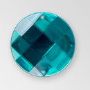 22mm Acrylic Round Sew-On Stone, Indicolite color