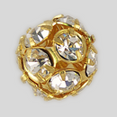 12mm Rhinestone Ball Crystal, Gold Plated