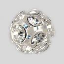 12mm Rhinestone Ball Crystal, Silver Plated