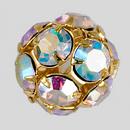 14mm Rhinestone Ball Crystal AB, Gold Plated
