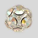 14mm Rhinestone Ball Crystal AB, Silver Plated