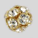 14mm Rhinestone Ball Crystal, Gold Plated