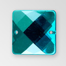 19mm Acrylic Square Sew-On Stone, Indicolite color