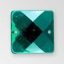 25mm Acrylic Square Sew-On Stone, Emerald color