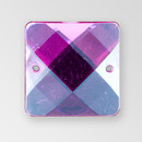 25mm Acrylic Square Sew-On Stone, Rose color